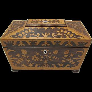 Rosewood Inlaid Tea Caddy