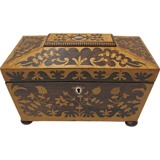 Rosewood Inlaid Tea Caddy