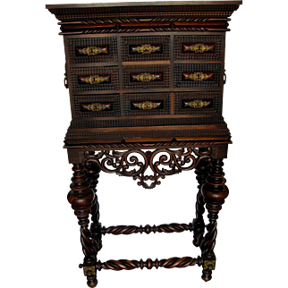 Hand Carved Rosewood  Portuguese Contador With Bronze Ormolu Mounts