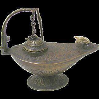 Early Bronze Aladdin Style Oil Lamp