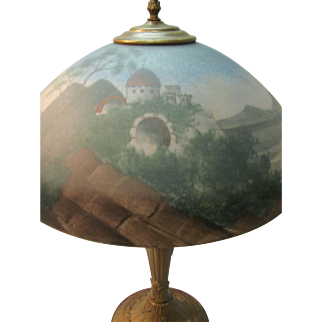 Reverse Hand Painted Castle Scene Lamp