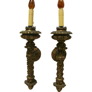 Gold Gilt Hand Carved  Sconces