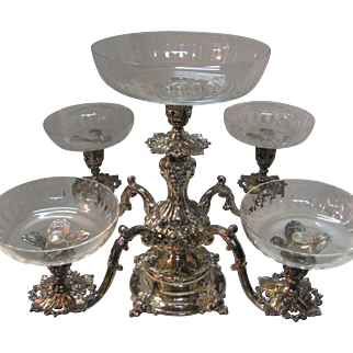 Silver Epergne Reed & Barton 5 Arm Cut Glass