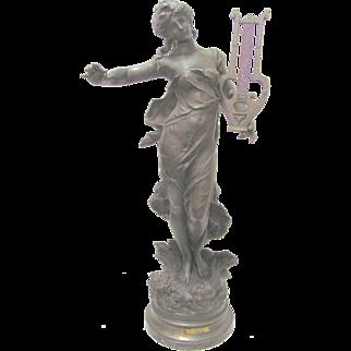 Art Noveau Victorian Women Sculpture Signed Moreau