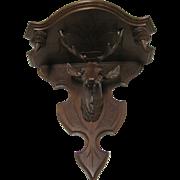 Victorian Walnut  Hanging Deer Head  Shelf