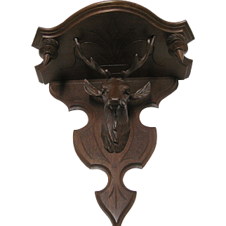 Victorian Walnut  Hanging Deer Head  Shelf