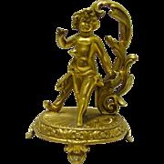 Victorian Cherub Gold Gilt Pocket Watch Holder