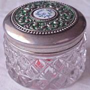 CB & H  Victorian Sterling & Enamel Mini Dresser Jar