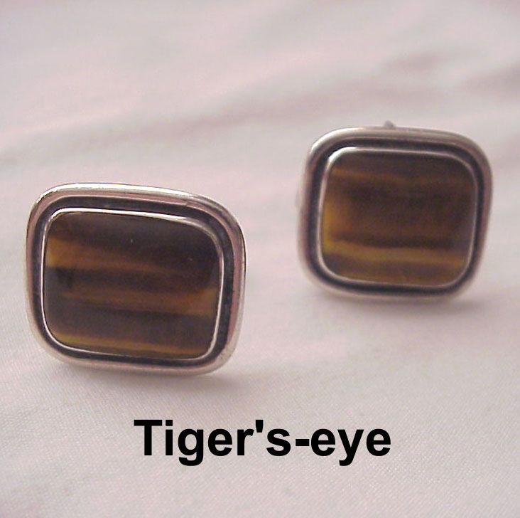 Margot De Taxco Sterling & Tiger's-eye Cuff Links - Circa 1960