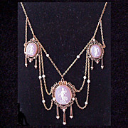 Ladies Necklace Of 14Kt. & 3 Carnelian Cameos Accented w/Cultured Pearls