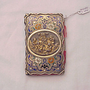 French Parcel Gilt 800 Silver Notepad with Putties / Cherubs and Enamel Flowers - Circa 1850