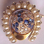 Magnificent 18kt. Gold Jeweled Jockey Cap & Horseshoe Pin