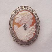14K White Gold Shell Cameo Pin Pendant Combo - Circa 1925