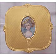 Vermeil Sterling, Hand Painted Miniature & Wheel Cut Glass Dresser Jar