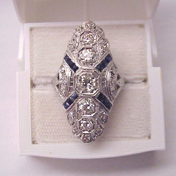 Platinum, Diamond and Synthetic Sapphire Art Deco Ring - Circa 1925
