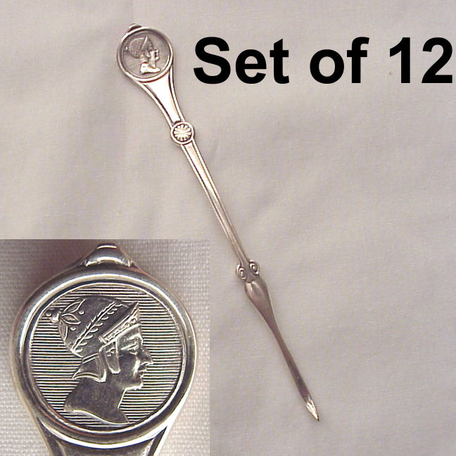 Set of 12 Reed & Barton Medallion Silver Plated Nut Picks - Circa 1880