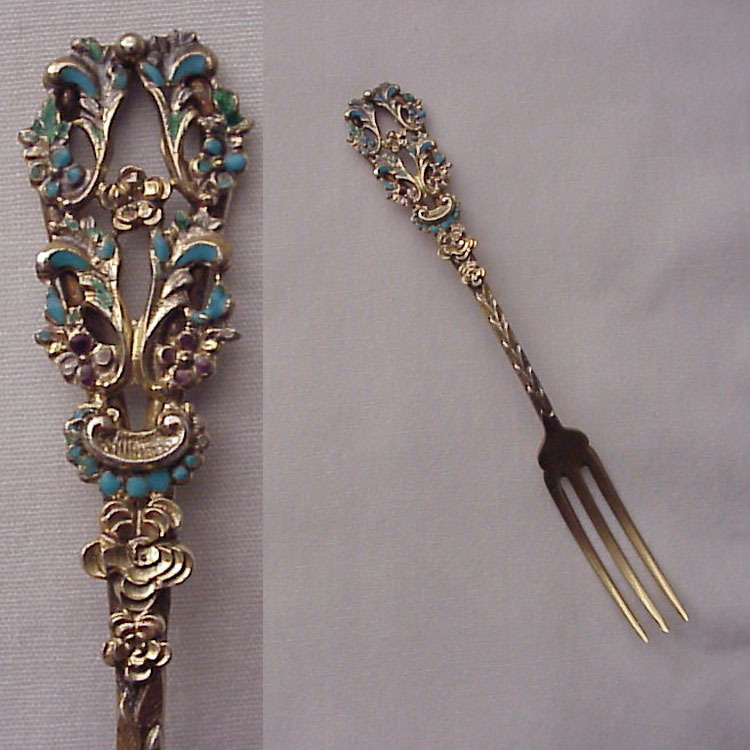 Set of 7 French & Franklin Vermeil Sterling and Enamel Strawberry Forks - Circa 1896
