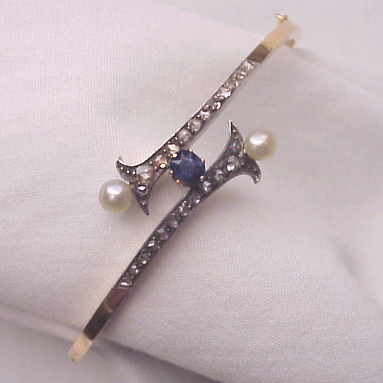 14Kt. Gold Bracelet with Silver, Rose Cut Diamonds, Sapphire and Cultured Pearl Decoration - Circa 1900