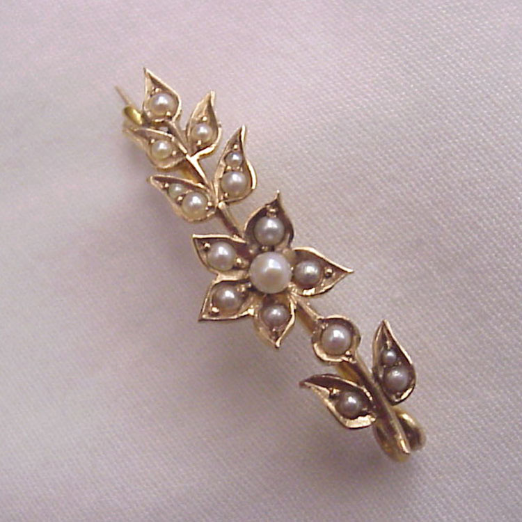 14Kt. Gold and Cultured Pearl Scatter Pin - Circa 1900l