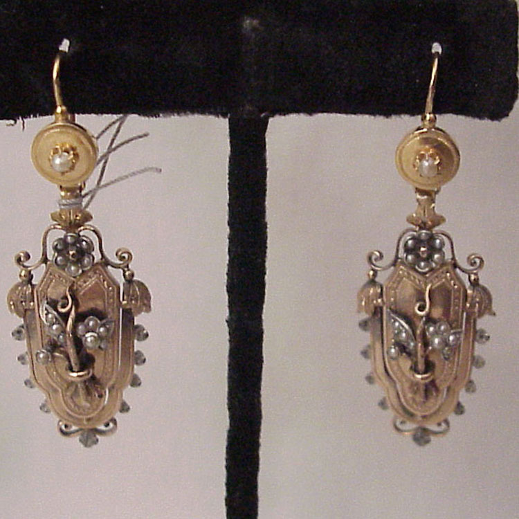 French 18kt. Yellow and Rose Gold Victorian Pierced Earrings with Silver and Seed Pearl Accents - Circa 1890