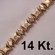 Victorian 14kt. Rose Gold and Diamond Accent Link Bracelet - Circa 1890
