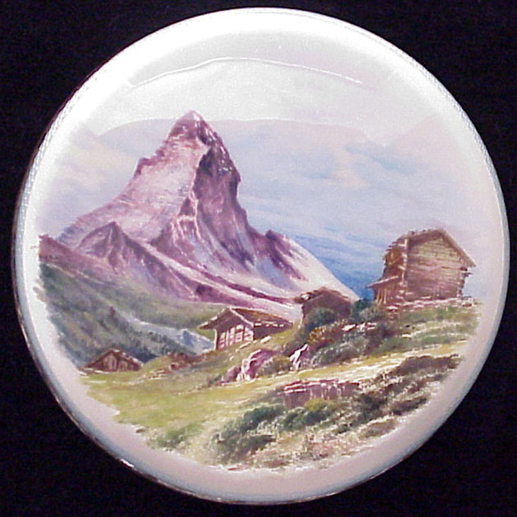 Austrian Guilloche Scenic Enamel on 935 Silver & Cut Glass Jar