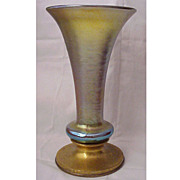 Large Tiffany Studios Bronze Base & Favrile Art Glass Vase