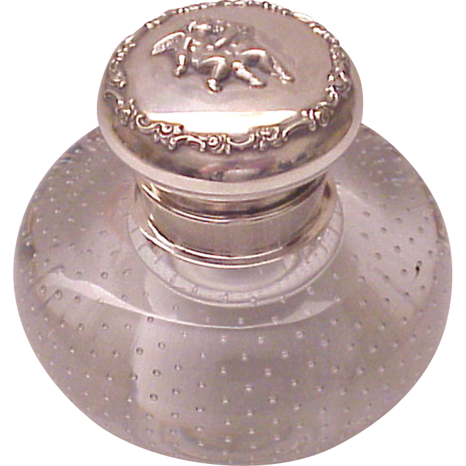 American Sterling Inkwell with Controlled Bubble Pattern Glass Base - Circa 1900