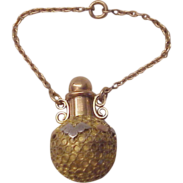 Victorian 3 Color Gold Fill Fob or Chatelaine Perfume Bottle - Circa 1880