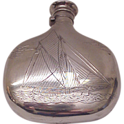 Simpson, Hall & Miller Sterling Flask with Sailboat Motif - Circa 1900