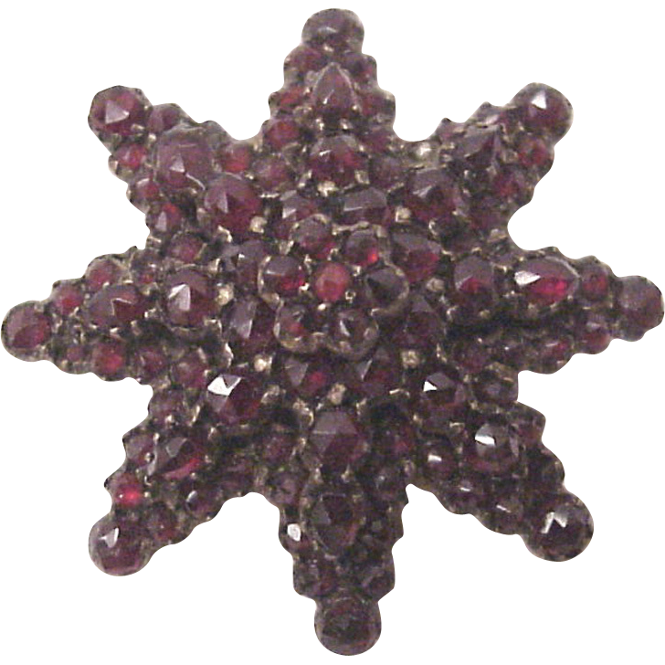 Victorian Bohemian Garnet and Gold Fill Pin - Circa 1890