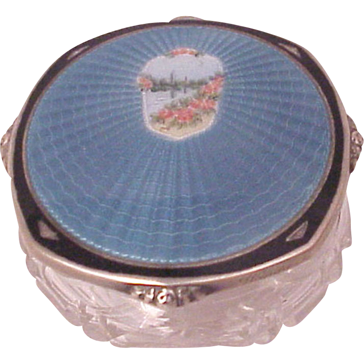 F & B Sterling and Guilloche Enamel Dresser Jar with a Deluxe Cut Glass Base - Circa 1925
