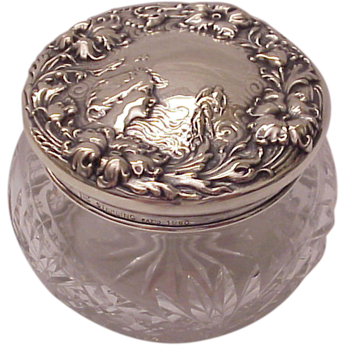 F & B Art Nouveau Sterling and Cut Glass Dresser Jar - Circa 1905