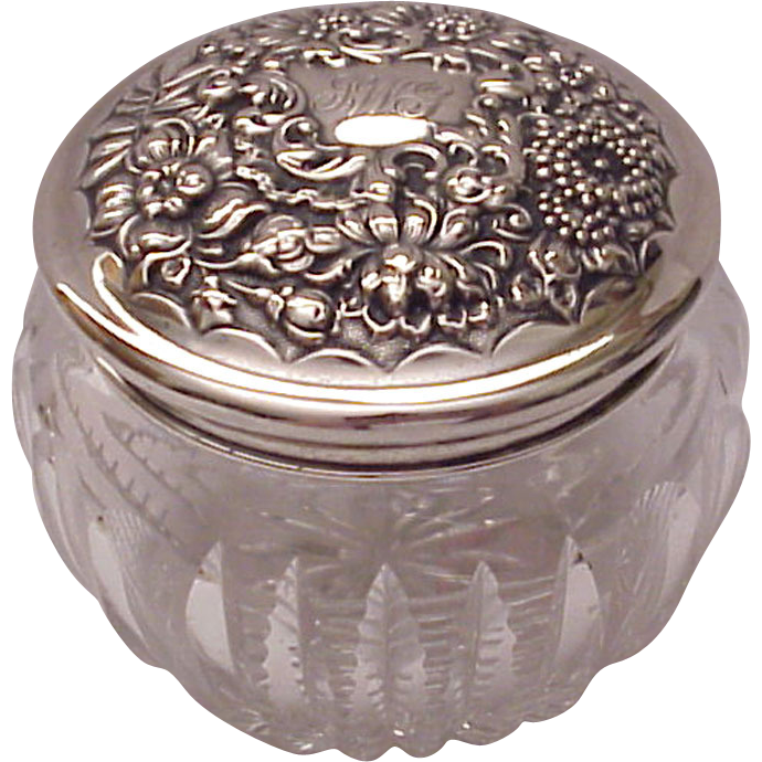 R. Wallace & Sons Sterling Repousse & Cut Glass Jar - Circa 1905