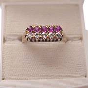 14kt. Rose Gold, Ruby and Diamond Ring - Dated 1896