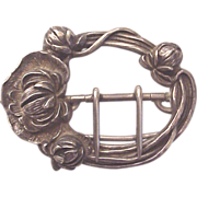 Kerr Floral Art Nouveau Sterling Sash or Belt Buckle - Circa 1905