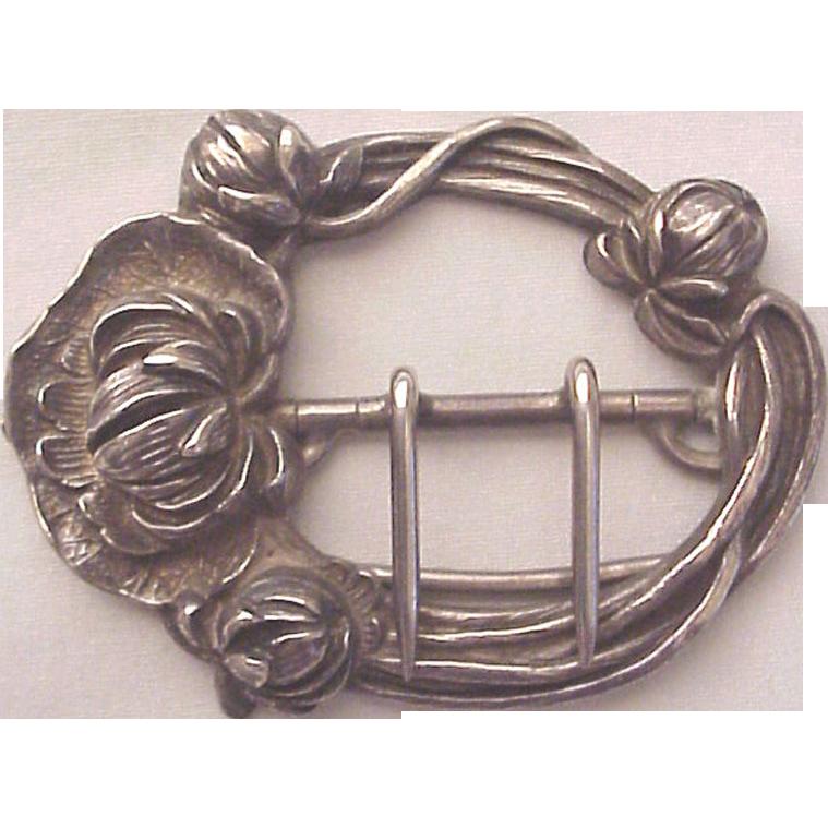 Kerr Floral Art Nouveau Sterling Sash or Belt Buckle - Circa 1905