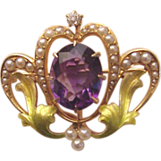Art Nouveau 14 Kt. Rose Gold, Enamel, Amethyst, Cultured Pearl and Diamond Accent Watch Pin - Circa 1910