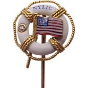 NYLIC New York Life Insurance Co. 14kt., Enamel Stick Pin - Circa 1900