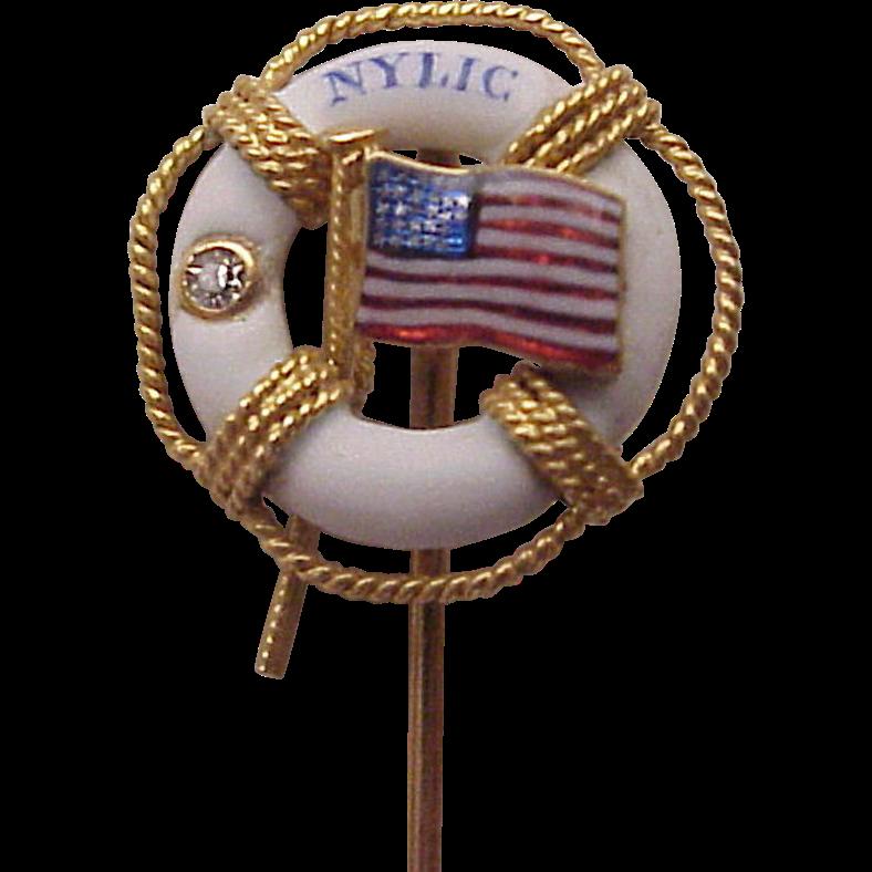 NYLIC New York Life Insurance Co. 14kt., Enamel Stick Pin - Circa 1900