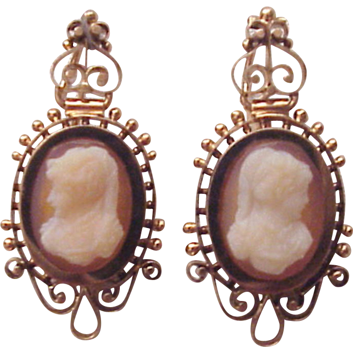Victorian Pierced Cameo Earrings in 14Kt. Rose Gold and Carnelian - Circa 1890