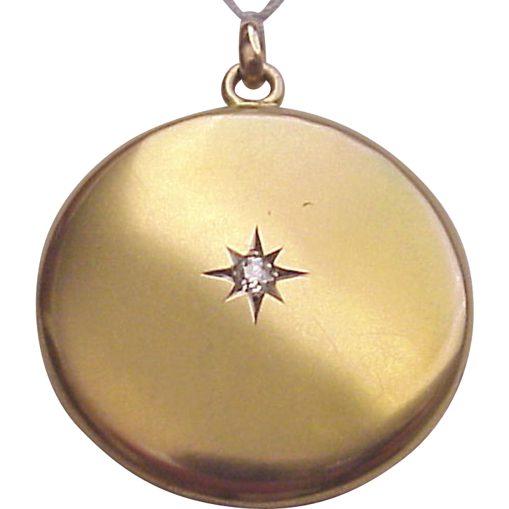 Victorian 12 Kt. Yellow Gold Locket with Diamond Accent - Circa 1890