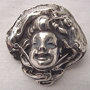 Unger Bros. Sterling Bonnet Lady Pin Circa 1905