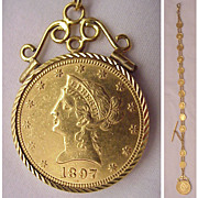 Fabulous 14kt., 10kt. Gold Medallion & US $10.00 Liberty Gold Piece Man's Watch Chain