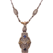 14Kt. Three Color Gold Filigree Necklace with Diamond and Synthetic Sapphire Accent - Circa 1925