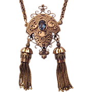 Victorian 14Kt. Ladies Watch Pin / Necklace Combination with Iolite and Black Enamel Accent - Circa 1880