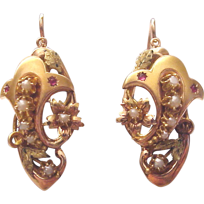 European Victorian  14 Kt. Two Toned Gold Earrings with Gem Stone and Half Pearl Accent - Circa  1870