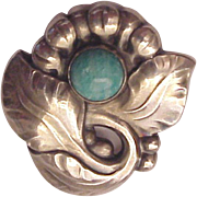Georg Jensen Sterling and Amazonite Pin # 71 - Circa 1960