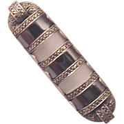 Theodor Fahrner Sterling, Hematite, Rock Crystal and Marcasite Bar Pin - Circa 1930