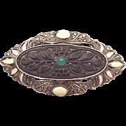 Theodor Fahrner 935 Silver, Wood, Enamel, Chrysoprase and Marcasite Pin - Circa 1925